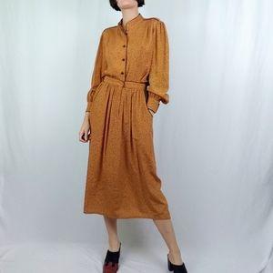 80's printed skirt and top set